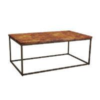 Byron Coffee Table - Rustic Pine - Raw Steel - Rectangular - Height 4800mm