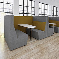 Ziggy low back 4 person meeting booth with table - made to order