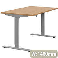 Zoom Height Adjustable Sit Stand Office Desk Plain Top W1400mmxD800mmxH685-1185mm Beech Top Silver Frame - Prevents & Reduces Muscle & Back Problems, Poor Circulation & Increases Brain Activity.