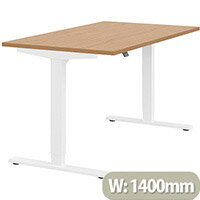 Zoom Height Adjustable Sit Stand Office Desk Plain Top W1400mmxD800mmxH685-1185mm Beech Top White Frame - Prevents & Reduces Muscle & Back Problems, Poor Circulation & Increases Brain Activity.
