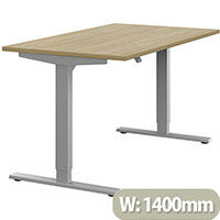 Zoom Height Adjustable Sit Stand Office Desk Plain Top W1400mmxD800mmxH685-1185mm Urban Oak Top Silver Frame - Prevents & Reduces Muscle & Back Problems, Poor Circulation & Increases Brain Activity.