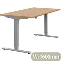 Zoom Height Adjustable Sit Stand Office Desk Plain Top W1600mmxD800mmxH685-1185mm Beech Top Silver Frame - Prevents & Reduces Muscle & Back Problems, Poor Circulation & Increases Brain Activity.