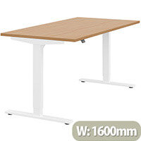 Zoom Height Adjustable Sit Stand Office Desk Plain Top W1600mmxD800mmxH685-1185mm Beech Top White Frame - Prevents & Reduces Muscle & Back Problems, Poor Circulation & Increases Brain Activity.