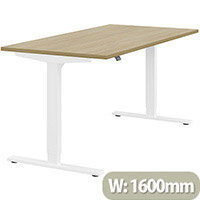 Zoom Height Adjustable Sit Stand Office Desk Plain Top W1600mmxD800mmxH685-1185mm Urban oak Top White Frame - Prevents & Reduces Muscle & Back Problems, Poor Circulation & Increases Brain Activity.