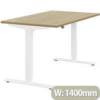 Zoom Height Adjustable Sit Stand Office Desk Portal Top W1400mmxD800mmxH685-1185mm Urban oak Top White Frame - Prevents & Reduces Muscle & Back Problems, Poor Circulation & Increases Brain Activity.