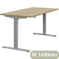 Zoom Height Adjustable Sit Stand Office Desk Portal Top W1600mmxD800mmxH685-1185mm Urban Oak Top Silver Frame - Prevents & Reduces Muscle & Back Problems, Poor Circulation & Increases Brain Activity.