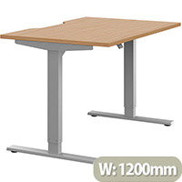 Zoom Height Adjustable Sit Stand Office Desk Scallop Top W1200mmxD800mmxH685-1185mm Beech Top Silver Frame - Prevents & Reduces Muscle & Back Problems, Poor Circulation & Increases Brain Activity.