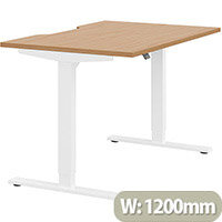 Zoom Height Adjustable Sit Stand Office Desk Scallop Top W1200mmxD800mmxH685-1185mm Beech Top White Frame - Prevents & Reduces Muscle & Back Problems, Poor Circulation & Increases Brain Activity.