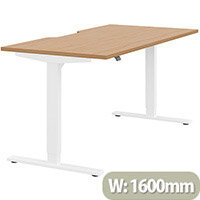 Zoom Height Adjustable Sit Stand Office Desk Scallop Top W1600mmxD800mmxH685-1185mm Beech Top White Frame - Prevents & Reduces Muscle & Back Problems, Poor Circulation & Increases Brain Activity.