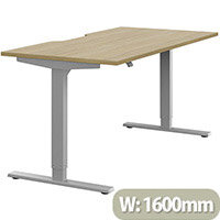 Zoom Height Adjustable Sit Stand Office Desk Scallop Top W1600mmxD800mmxH685-1185mm Urban Oak Top Silver Frame - Prevents & Reduces Muscle & Back Problems, Poor Circulation & Increases Brain Activity.