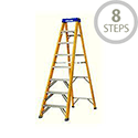 Abru Fibreglass Swingback Step Ladder 8 Tread Height 2.23m 74608 Top Tread Height 2.23m Max Height 3.15m Yellow