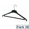 Alba Plastic Coat Hanger Black Pack of 20 PMBASICPL