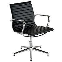 Aria A Medium Back Memory Return Swivel Leather Chair Black AM3