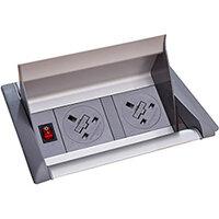 Aero Fliptop In-table Power Module 2 x UK Sockets - Grey/Silver