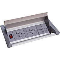 Aero Fliptop In-table Power Module 2 x UK Sockets , 2 x RJ45 Sockets - Grey/Silver