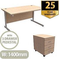 Office Desk Rectangular Silver Legs W1400mm With Mobile 3-Drawer Pedestal Maple Ashford