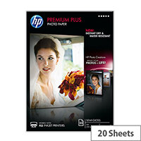 HP Premium Plus Photo Paper - Semi-glossy - A4 (210 x 297 mm) - 300 g/m² - 20 sheet(s) photo paper - for Envy 5055, 7645; Officejet 5255, 76XX; PageWide MFP 377; PageWide Pro 452; Photosmart 5525