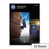 HP Advanced Glossy Photo Paper - Glossy - A4 (210 x 297 mm) - 250 g/m² - 25 sheet(s) photo paper - for Deskjet Ink Advantage 5275; Envy 5055, 76XX, Photo 7858; Ink Tank 319; Officejet 5255