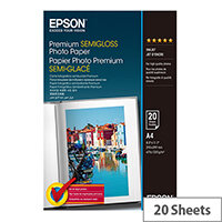 Epson Premium Semigloss Photo Paper - Semi-glossy - A4 (210 x 297 mm) 20 sheet(s) photo paper - for Expression Home HD XP-15000; Expression Premium XP-540, 6000, 6005, 900