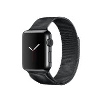 Apple Watch Original - 38 mm - space black stainless steel - smart watch with milanese loop - stainless steel - space black - band size 130-180 mm - Wi-Fi, Bluetooth - 40 g