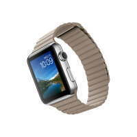 Apple Watch Original - 42 mm - stainless steel - smart watch with leather loop - stone - band size 180-210 mm - L - Wi-Fi, Bluetooth - 50 g