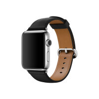Apple Watch Original - 42 mm - stainless steel - smart watch with classic buckle - leather - black - band size 145-215 mm - Wi-Fi, Bluetooth - 50 g