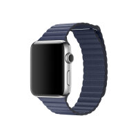 Apple Watch Original - 42 mm - stainless steel - smart watch with leather loop - midnight blue - band size 150-185 mm - M - Wi-Fi, Bluetooth - 50 g
