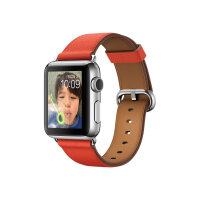 Apple Watch Original - 38 mm - stainless steel - smart watch with classic buckle - leather - red - band size 130-195 mm - Wi-Fi, Bluetooth - 40 g