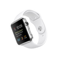 Apple Watch Original - 42 mm - stainless steel - smart watch with sport band - white - band size 140-210 mm - S/M/L - Wi-Fi, Bluetooth - 50 g