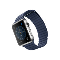 Apple Watch Original - 42 mm - stainless steel - smart watch with leather loop - midnight blue - band size 180-210 mm - L - Wi-Fi, Bluetooth - 50 g