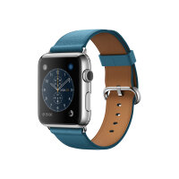 Apple Watch Original - 42 mm - stainless steel - smart watch with classic buckle - leather - marine blue - band size 150-215 mm - Wi-Fi, Bluetooth - 50 g