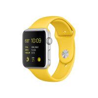 Apple Watch Sport - 42 mm - silver aluminium - smart watch with sport band - fluoroelastomer - yellow - band size 140-210 mm - S/M/L - Wi-Fi, Bluetooth - 30 g