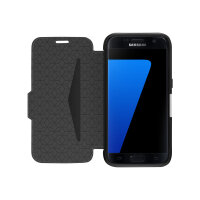 OtterBox Strada Samsung Galaxy S7 - Flip cover for mobile phone - leather - onyx black - for Samsung Galaxy S7