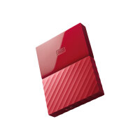 WD My Passport WDBYFT0030BRD - Hard drive - encrypted - 3 TB - external (portable) - USB 3.0 - 256-bit AES - red