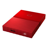 WD My Passport WDBYFT0040BRD - Hard drive - encrypted - 4 TB - external (portable) - USB 3.0 - 256-bit AES - red