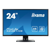 "Iiyama ProLite X2481HS-B1 - LED Computer Monitor - 24"" (23.6"" viewable) - 1920 x 1080 Full HD (1080p) - VA - 250 cd/m² - 3000:1 - 6 ms - HDMI, DVI-D, VGA - speakers - black"