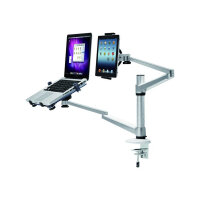 "NewStar Desk Mount (clamp) for Laptop & Monitor (10-27""), Height Adjustable - Silver - Adjustable arm for LCD display / notebook - silver - screen size: 10""-27"" - desk-mountable"