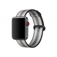 Apple 42mm Woven Nylon Band - Watch strap - 145-215 mm - black stripe - for Watch (42 mm)