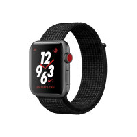 Apple Watch Nike+ Series 3 (GPS + Cellular) - 42 mm - space grey aluminium - smart watch with Nike sport loop - woven nylon - black/pure platinum - band size 145-220 mm - 16 GB - Wi-Fi, Bluetooth - 4G - 34.9 g