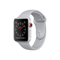 Apple Watch Series 3 (GPS + Cellular) - 42 mm - silver aluminium - smart watch with sport band - fluoroelastomer - fog - band size 140-210 mm - 16 GB - Wi-Fi, Bluetooth - 4G - 34.9 g