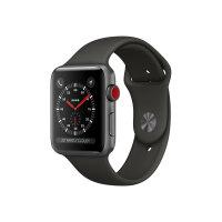 Apple Watch Series 3 (GPS + Cellular) - 38 mm - space grey aluminium - smart watch with sport band - fluoroelastomer - grey - band size 130-200 mm - 16 GB - Wi-Fi, Bluetooth - 4G - 28.7 g