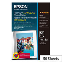 Epson Premium Semigloss Photo Paper - Semi-glossy - 100 x 150 mm - 251 g/m² - 50 sheet(s) photo paper - for Expression Home HD XP-15000; Expression Premium XP-540, 6000, 6005, 900; WorkForce WF-3620