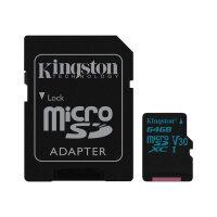 Kingston Canvas Go! - Flash memory card (microSDXC to SD adapter included) - 64 GB - Video Class V30 / UHS-I U3 / Class10 - microSDXC UHS-I