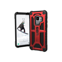 UAG Monarch Series - Back cover for mobile phone - rugged - top-grain leather, alloy metal - crimson - for Samsung Galaxy S9