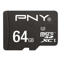 PNY Turbo Performance - Flash memory card (microSDXC to SD adapter included) - 64 GB - UHS Class 3 / Class10 - microSDXC UHS-I