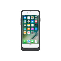Apple Smart - Battery case back cover for mobile phone - silicone, elastomer - black - for iPhone 7
