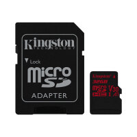 Kingston Canvas React - Flash memory card (microSDHC to SD adapter included) - 32 GB - A1 / Video Class V30 / UHS-I U3 / Class10 - microSDHC UHS-I