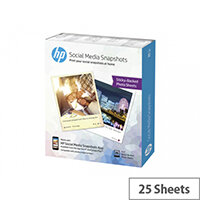 HP Social Media Snapshots - Soft-glossy - removable self-adhesive - 11 mil - 100 x 130 mm - 265 g/m² - 25 sheet(s) photo paper - for Envy 5055, 5540, 7645, Photo 7858; Officejet 5255; Officejet Pro 87XX