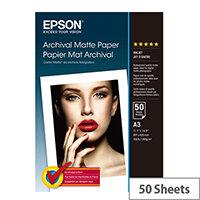 Epson Archival Matte Paper - Matte - A3 (297 x 420 mm) - 192 g/m² - 50 sheet(s) paper - for Stylus Pro 4900 Spectro_M1; SureColor P400, P5000, P800, SC-P10000, P20000, P400, P5000