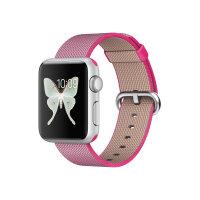 Apple Watch Sport - 38 mm - silver aluminium - smart watch with band - woven nylon - pink - band size 125-195 mm - Wi-Fi, Bluetooth - 25 g